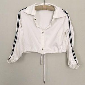 Jackets & Blazers - White Cropped Sporty Side Stripe Jacket